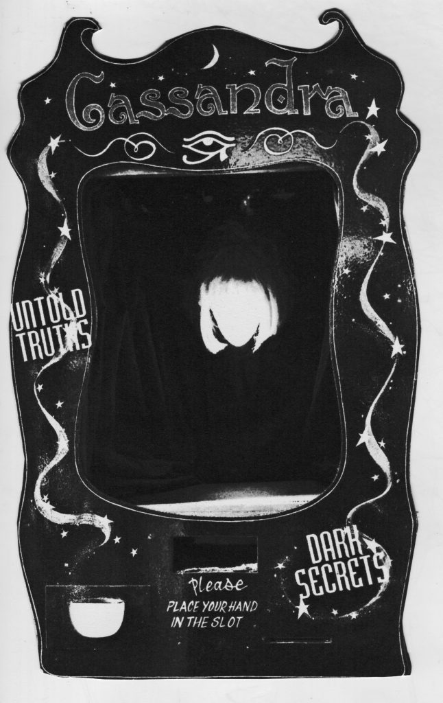 A black and white image of the fortune telling machine